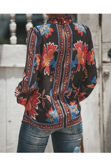 Retro Floral Printed Ruffle-Trimmed Long Sleeve Chiffon Blouse