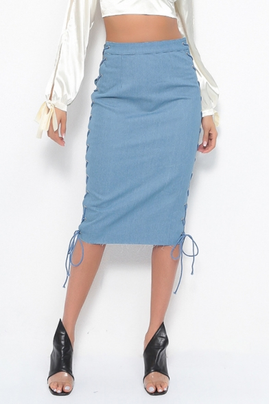 Secy Hot Style Hollow Out Lace Out Side Plain High Waist Denim Pencil Skirt LC496467 фото