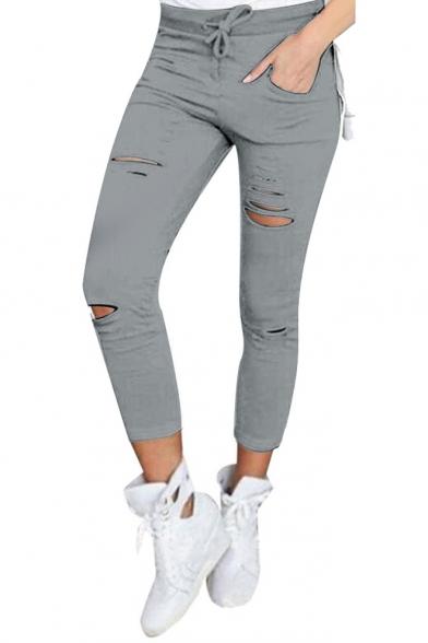 Skinny Distressed Drawstring Waist Hot Sale Pants