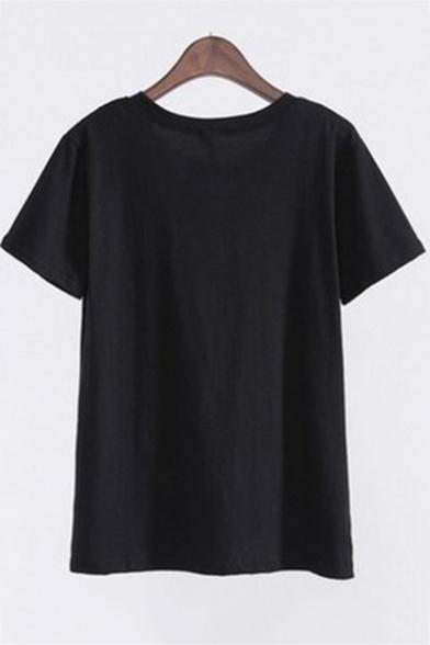 Street Style Letter BOY BYE Gesture Printed Round Neck Short Sleeve Black T-Shirt