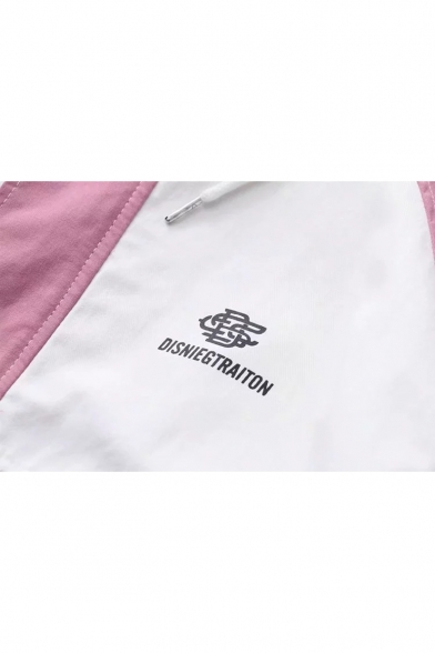 Stylish Long Sleeve Colorblock Zip Front Hooded Coat