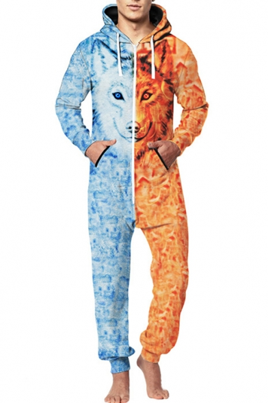 Unique Blue and Orange Two-Tone 3D Wolf Printed Long Sleeve Zip Front Hooded Jumpsuits