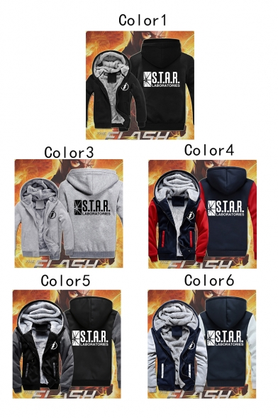 Winter's Thick Warm Long Sleeve Zip Placket Letter STAR Printed Hooded Coat