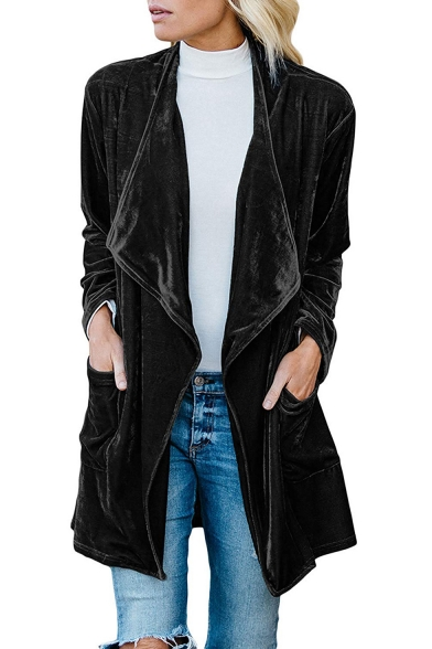 Women's New Trendy Solid Lapel Collar Long Sleeve Open Front Velvet Trench Coat with Pocket