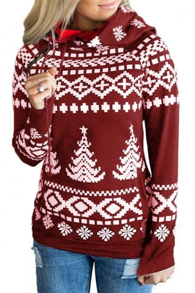 Christmas Series Zip Embellished Tree Printed Long Sleeve Hoodie for Women