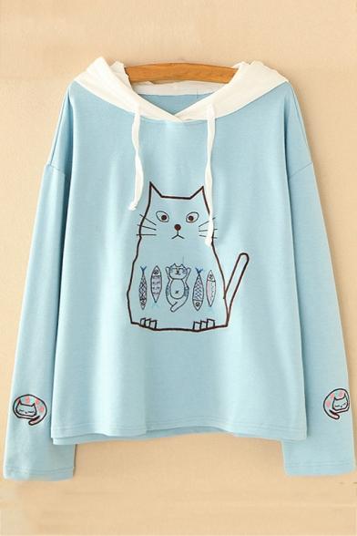 Cute Cat Kitty Fish Print Contrast Hood Long Sleeves Pullover Hoodie