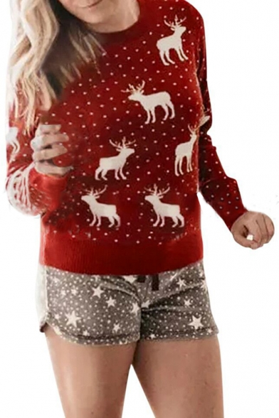 Digital Polka Dot Cartoon Deer Printed Long Sleeve Round Neck Red Sweatshirt for Women, LC494037
