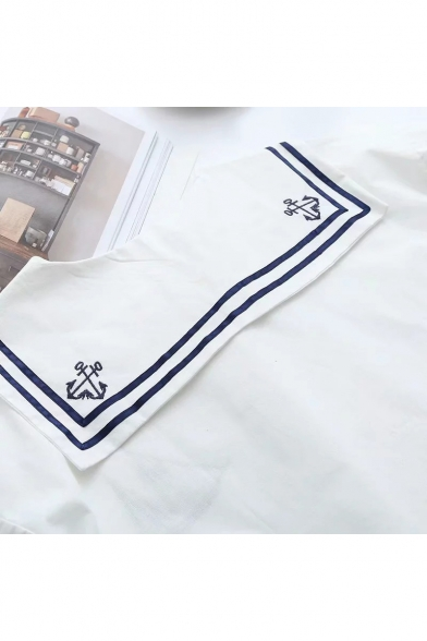 Fresh Long Sleeve Navy Collar Tie Front Sailing Boat Pattern Striped Leisure Blouse