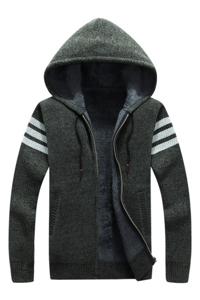 Hot Dark Green Striped Pattern Zip Front Hooded Knitted Jacket with Fleece Lining