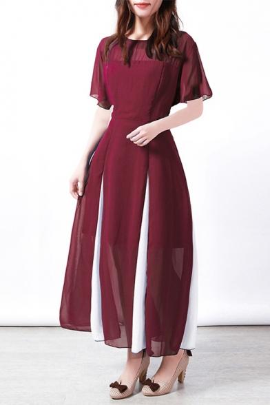 Hot Fashion Round Neck Short Sleeve Two-Tone Hem Maxi A-Line Chiffon Dress