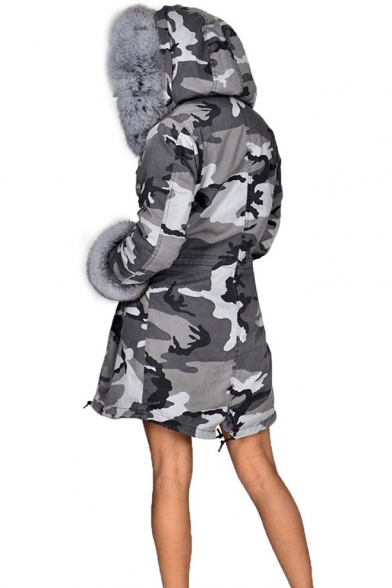 Hot Popular Long Sleeve Tunics Drawstring Hem Camouflage Printed Faux Fur Hooded Coat