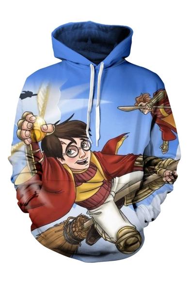 Hot Sale Long Sleeve Cartoon Character Printed Unisex Blue Hoodie