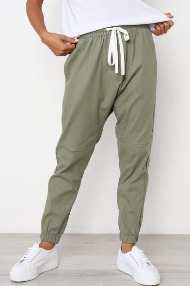 Купить со скидкой Leisure Plain Elastic Drawstring Waist Cropped Pants for Girls