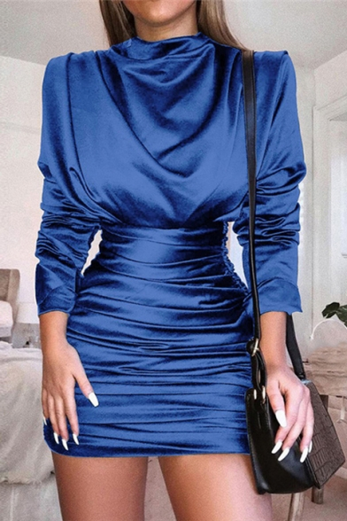 Long Sleeve Cowl Neck Basic Solid Trendy Ruched Mini Sheath Satin Dress