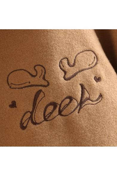 Long Sleeve Single Breasted Cartoon Deer Letter Printed Woolen Coat