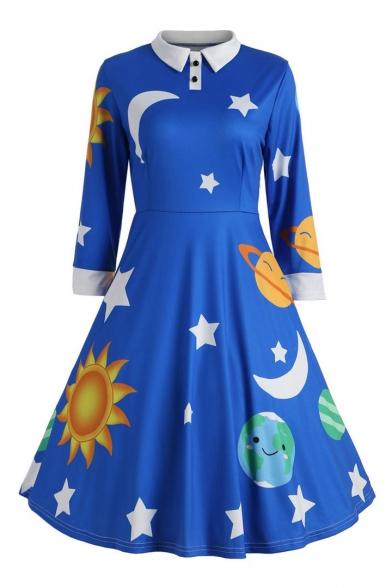 Moon Star Printed 3/4 Length Sleeve Lapel Collar Leisure Christmas Series Midi A-Line Dress