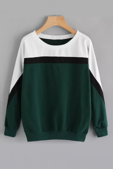 New Arrival Fashion Colorblock Round Neck Long Sleeve Pullover Cotton Sweatshirt