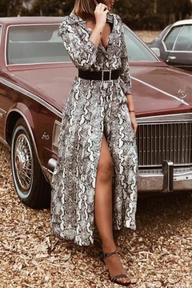 New Trendy Snake Pattern V-Neck Long Sleeve Split Front Maxi A-Line Flowy Shirt Dress