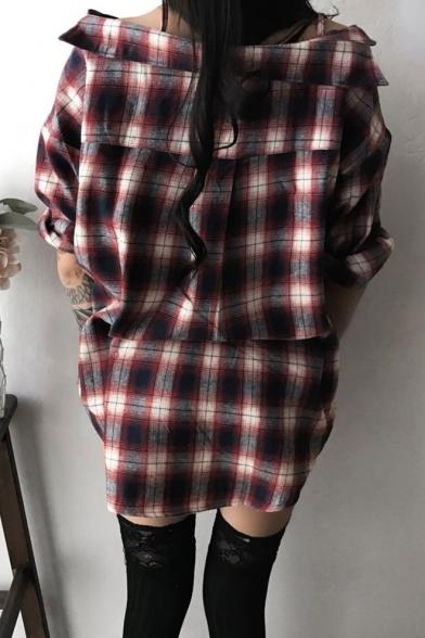 Sexy Classic Plaid Cold Shoulder Button Front Mini Asymmetrical Dress