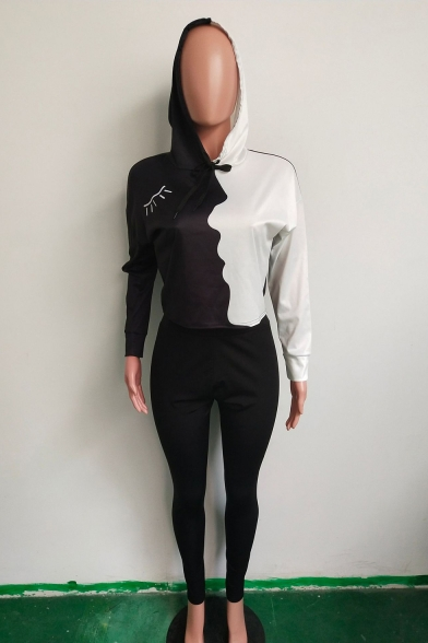 Sexy Colorblock Long Sleeve Crop Top Skinny Plain Elastic Waist Pants Black Co-ords