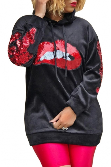 Sexy Red Lip Sequined Embellished Long Sleeve Relaxed Velvet Hoodie, LC496201, White