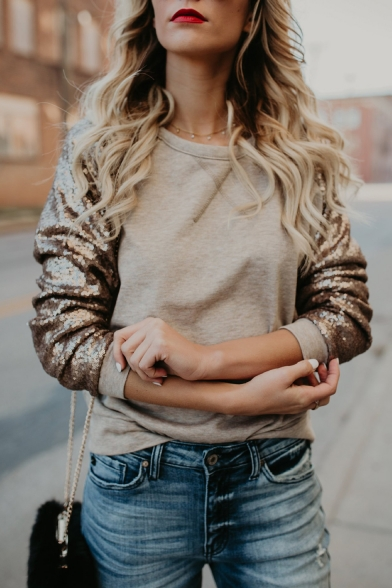 Trendy Sequined Patched Long Sleeve Round Neck Casual Loose Khaki Sweatshirt