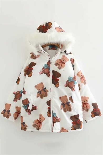 White Cute All Over Cartoon Bear Printed Long Sleeve Hooded Zip-Up Cotton-Padded Coat