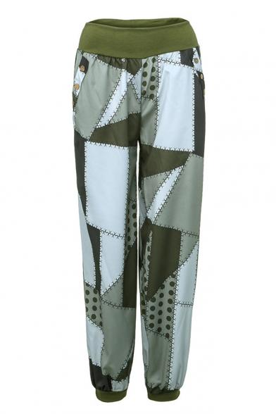 Women's Color Block Elastic Waistband Adjustable Cuffs Loose Fit Women's Lounge Pants