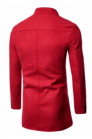 Autumn's New Arrival Long Sleeve Stand Collar Triple Breasted Plain Warm-Up Woolen Coat