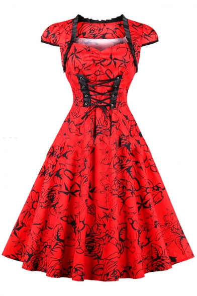 Chic Ruffle Hem Square Neck Cap Sleeve Fashion Printed Lace-Up Front Midi A-Line Flared Red Dress