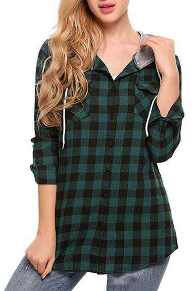 Купить со скидкой Classic Check Plaids Contrast Drawstring Hood Long Sleeve Button Placket Jacket