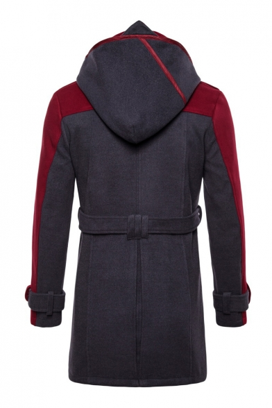 Colorblock Long Sleeve Double Breasted Regular Fitted Hooded Tunics Woolen Coat with Belt