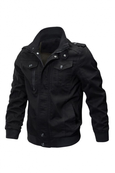 Cool Long Sleeve Plain Zipper Placket Rib Knit Cuffs Jacket with Two Flap Pockets