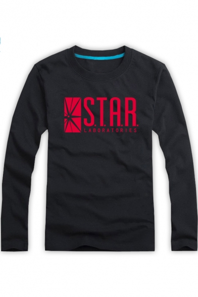 Cotton Long Sleeve Round Neck Letter STAR Printed Leisure Tee