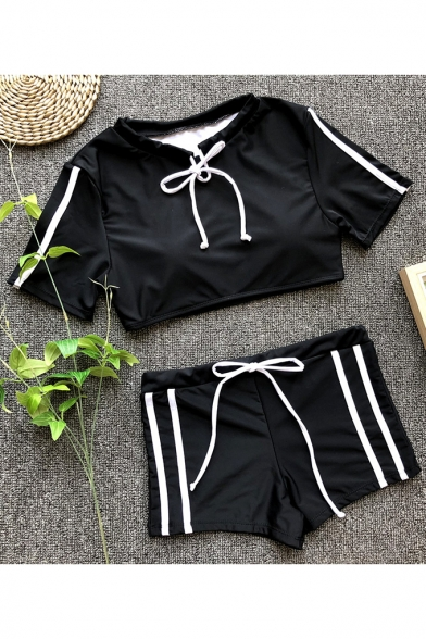 Fashion Black Striped Side Drawstring Design Slim Fit Women's Swimwear