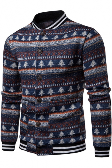 Fashion Navy Tree Tribal Pattern Stand Collar Long Sleeve Striped Trim Button Closure Cardigan
