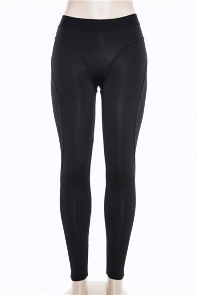 Fashion Sexy Plain Elastic Waist Sports Yoga Black Leggings