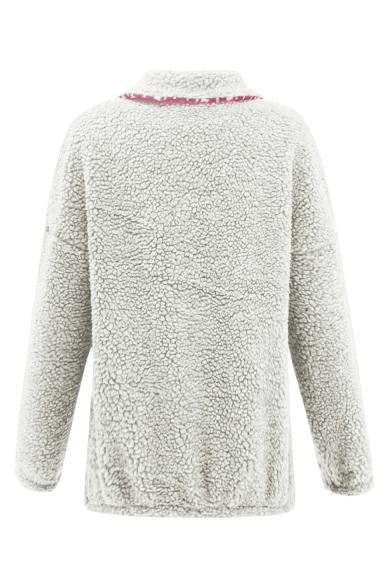 Fashion Snowflake Colorblock Stand Collar Half-Zip Long Sleeve Fleece Sweatshirt