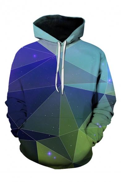 Hot Fashion 3D Colorblock Geometric Printed Long Sleeve Loose Casual Hoodie