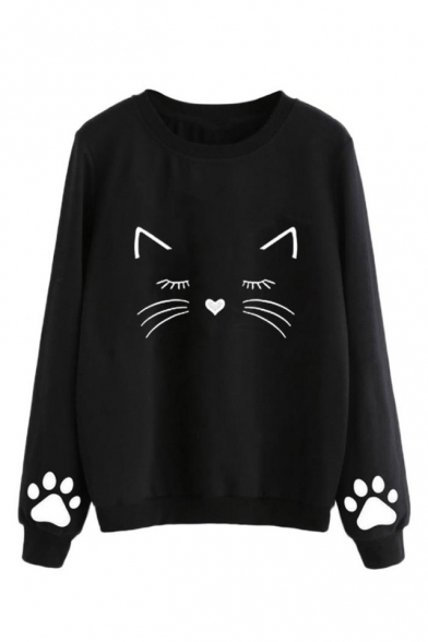 Hot Fashion Lovely Cartoon Cat Claw Pattern Round Neck Long Sleeve Pullover Sweatshirt