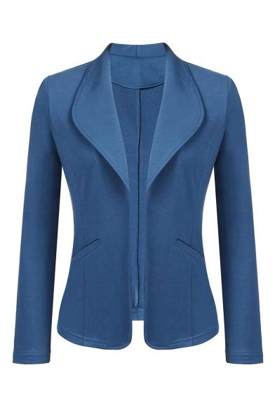 Ladies' Office Lapel Collar Long Sleeve Basic Solid Open Front Slim Blazer