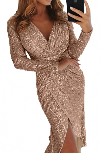Ladies' Trendy V-Neck Long Sleeve Sequined Detail Midi Sheath Wrap Dress for Party