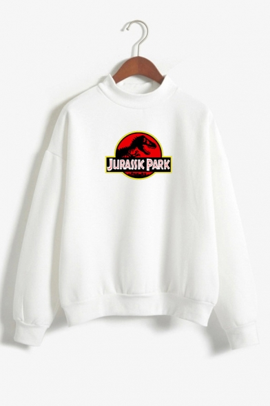 Letter JURASSIC PARK Dinosaur Printed Long Sleeve Mock Neck Sweatshirt