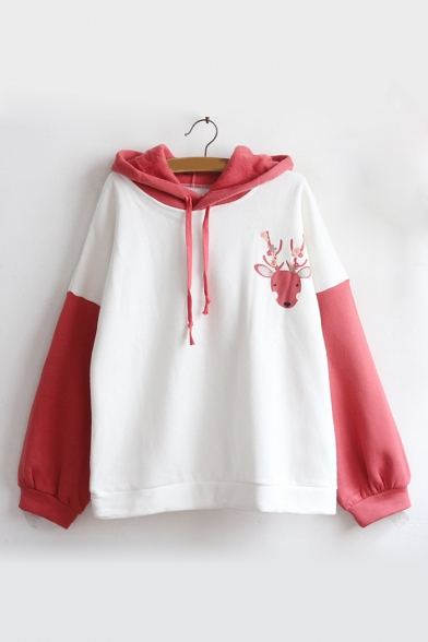 Lovely Cartoon Deer Print Fashion Colorblock Long Sleeve Cotton Hoodie for Juniors