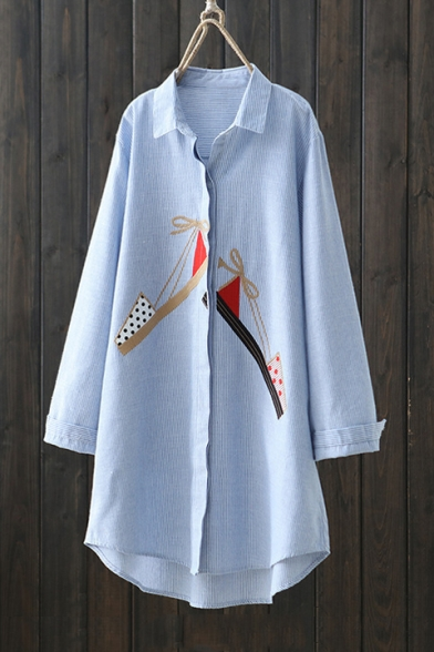 Lovely Sandals Embroidered Long Sleeve Lapel Collar Concealed Button Down Striped Long Shirt