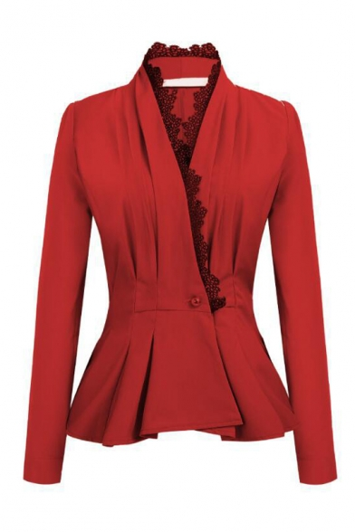 New Trendy Lace-Trimmed Lapel Collar Long Sleeve Single Button Front Slim Fitted Blazer