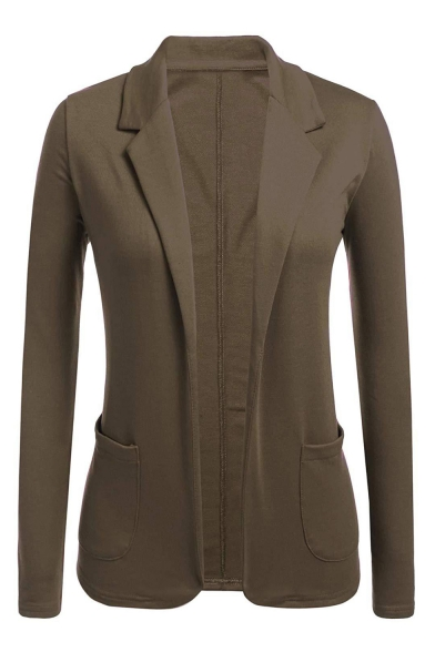 New Trendy Solid Notched Lapel Collar Long Sleeve Open Front Tailored Blazer Coat
