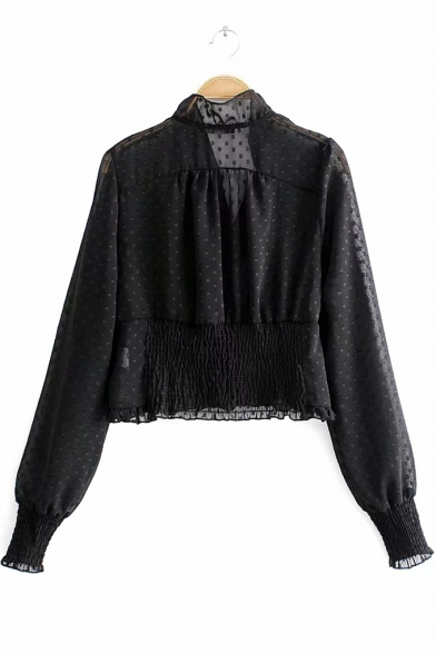 Polka Dot Printed V-Neck Chic Ruffle Trimmed Long Sleeve Sheer Black Blouse