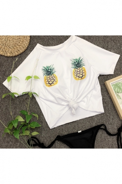 Sexy Beach Style Pineapple Print Round Neck Short Sleeves Cropped Top with Plain Bottom Swimwear