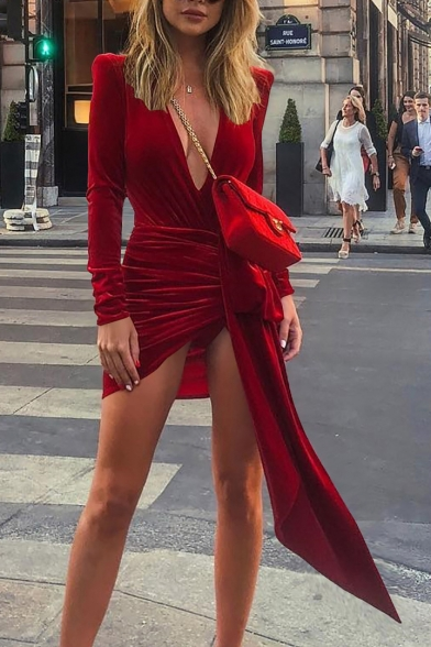 Baycheer / Sexy Plain Deep V Neck Long Sleeve Mini Asymmetrical Hem Dress